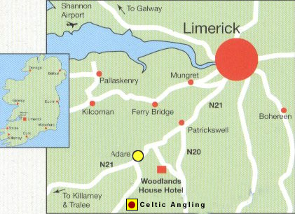 Adare Castle Ireland Map.Celtic Angling Ireland Map